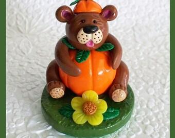 Pumpkin Bear Figurine made with polymer clay