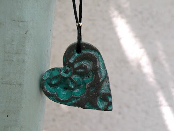 Rustic Turquoise Heart Pendant Necklace - Hand Carved Flowers Pattern - Texture