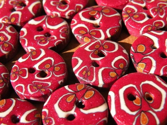 Set of 8 One-of-a-kind Handmade Buttons...