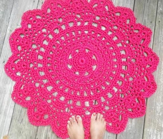Raspberry Pink Outdoor Cord Crochet Rug In 35 LAST ONE