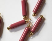 1 loop Vintage Wine Tube Beads Drops Charms drp080A