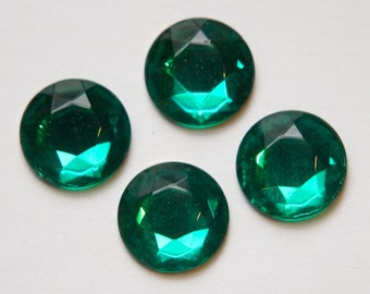 Vintage Faceted Emerald Green Glass Cabochons 13mm cab704M