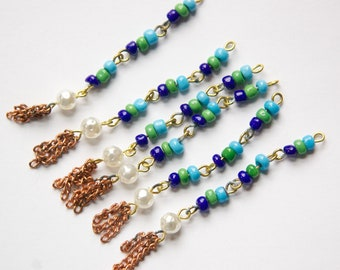 Vintage Green and Blue Glass Beaded Drops with Pearl and Tassels Japan drp058B