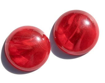 Vintage Red and White Marbled Acrylic Cabochons 24mm cab822C