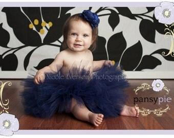 Navy Blue Tutu Dress Navy Tulle Dress Infant Girl Tutu Dresses Baby Tutu Skirt  3 6 month