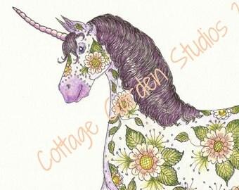 Unicorn Art, Henna design, Children's Room Art, Fantasy Illustration