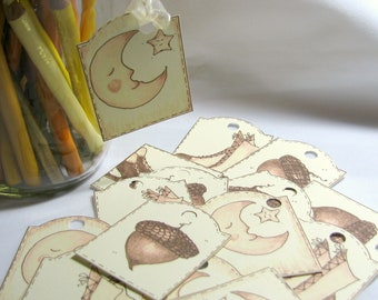 Halloween Hang Tags, Witches, Acorns, Moons, Set of 16, Sepia