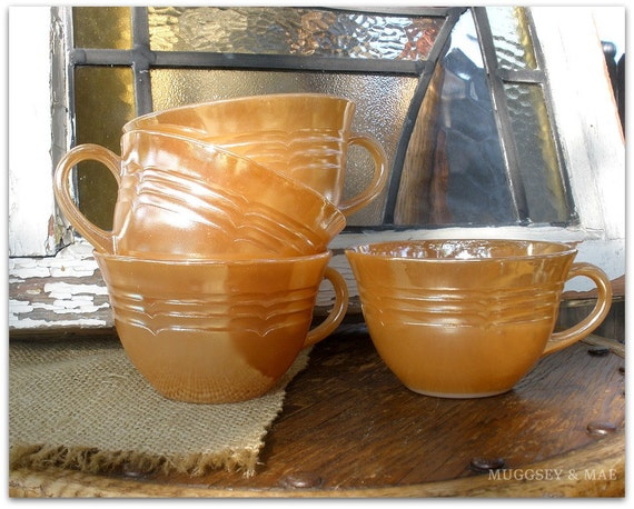 Fire King Oven Ware Peach Luster Tea Cups