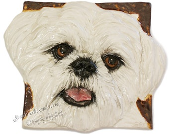Shih Tzu CERAMIC Portrait Sculpture 3D Dog Art Tile Plaque FUNCTIONAL ART by Sondra Alexander Christmas gifts in stock