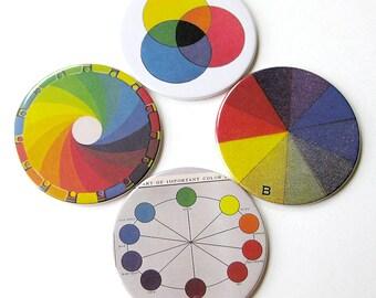 Science Diagram Coasters // Color & Light // Vintage Rainbow // Set of 8