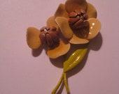 Vintage Enamel Flower Brooch - Lovely Autumnal Pin
