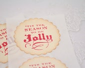 Christmas Stickers, Holiday Stickers, Christmas Gift Wrap, Jolly Stickers, Set of 10