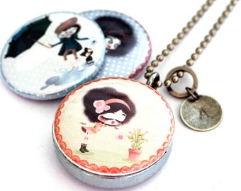 Girls Just Want to Have Fun Magnetic Necklace - Custom Stamped Initial Locket by Polarity - Kanzilue
