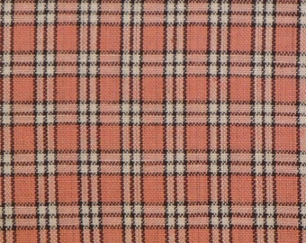 Homespun Fabric | Cotton Fabric | Quilt Fabric | Home Decor Fabric | Apparel Fabric |  Rose, Mocha And White SMALL Plaid | 1 Yard