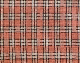 DAMAGED Homespun Fabric |  Cotton Fabric | Craft Fabric | Rose, Mocha And White SMALL PLAID Fabric | 2 Pieces 28 x 44 Each