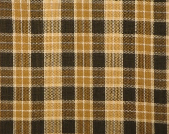 Brown Plaid Material | Homespun Material | Cotton Material | Quilt Fabric | Rag Quilt Material | 1 Yard