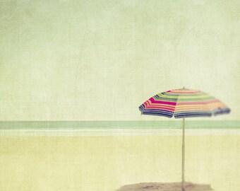 Summer vacation beach umbrella rainbow stripes dreamy seaside mint coastal getaway sun sand pastel shades cottage chic