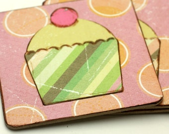 Cupcake Wood Coaster Pink Green Brown