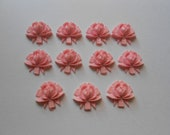 Eleven Pale Pink Vintage Cellulose Rose Flower Cabs 18mm