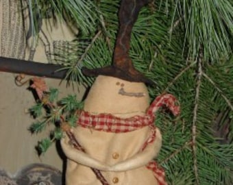 Mr. Schlumpy, A primitive, folk art Snowman pattern from Raven's Haven