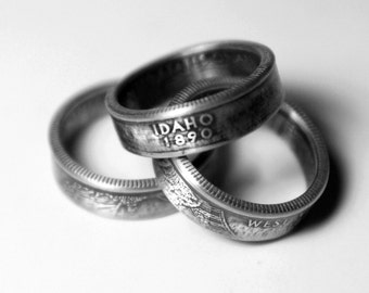 Handcrafted Ring made from a US Quarter - Idaho - Pick your size