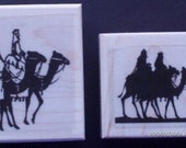 Lot of 2 New Christmas Rubber Stamps - THE THREE WISEMEN - free shipping!