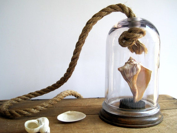 Large Bell Jar with Rope / Industrial Home / Glass Labware