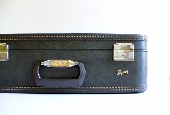 RESERVED FOR ANNE Vintage Suitcase Skyway Gray / 1960s Mid Century Luggage / Storage Organization