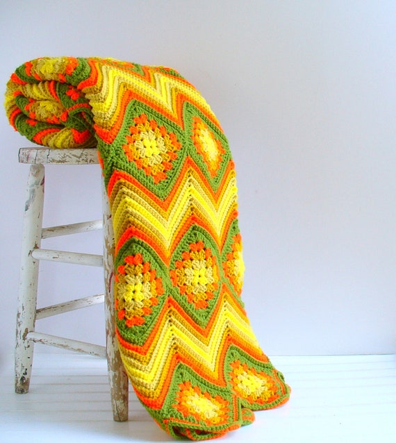 RESERVED Vintage Afghan Lap Blanket Chevron / Autumn Harvest Home Decor