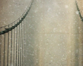 architecture photography Mackinac Bridge Michigan fine art canvas Gallery Wrap snow winter decor office home decor