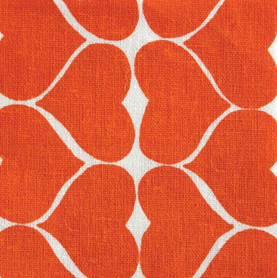 Hearts in Persimmon on 100% Organic quilters weight cotton.