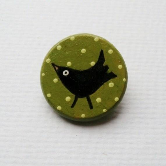 Black bird Brooch - Art on Wood - UK, Europe, International Shipping
