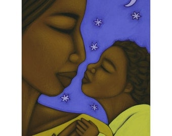 Mother and Child Moon and Stars Ethnic Print of Folk Art Original Painting By Tamara Adams