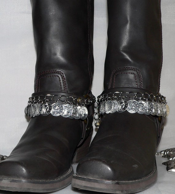 Coin Boot Bracelet Southwestern Gypsy Boot Chain Western Bling 1391