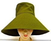 Wide Brim Sun Hat in Olive Green - Size L