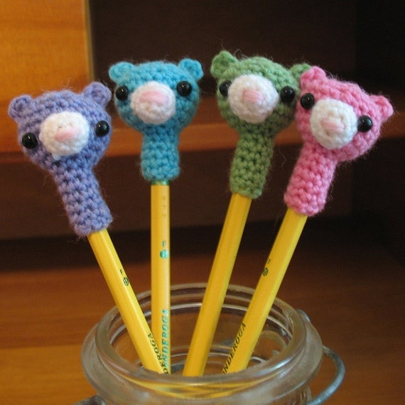Teddy Bear Pencil Topper PDF CROCHET PATTERN... Handmade Luxury Fiber Amigurumis & Patterns