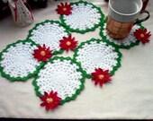 18 Poinsettia Coasters/Trinket Doilies Crochet Lace Thread Art Custom Order for JoAnn, jojo46