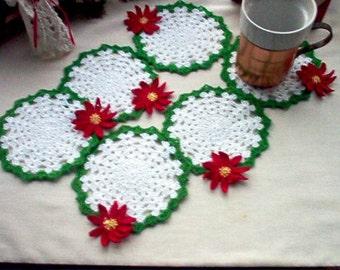 Poinsettia Coasters/Trinket Doilies Crochet Lace Thread Art Set of 6