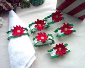6 Poinsettia Crochet Lace Thread Art Napkin Rings