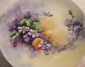 Vintage Hand Painted Porcelain Plate With Violets by Stoner