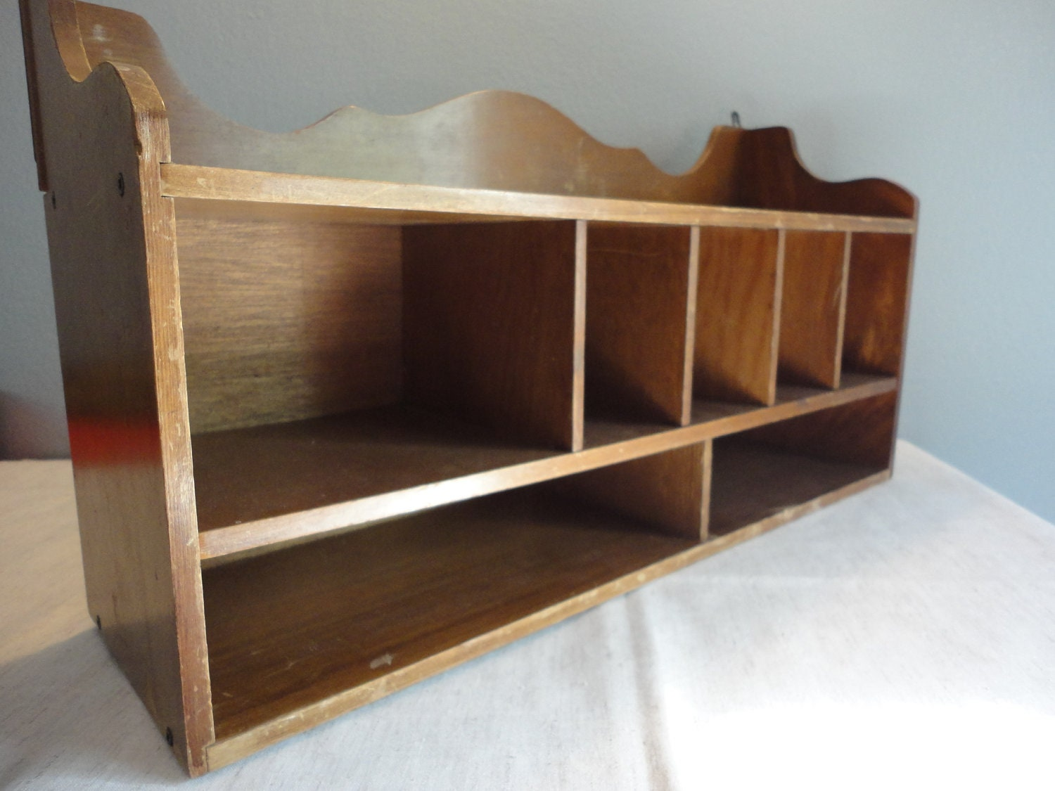 Vintage wood shelf organizer desk organizer or mail - Wood desk organizer ...