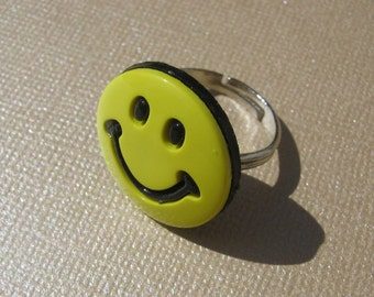 Happy Face Ring, Button Ring, Fun Fashion Ring