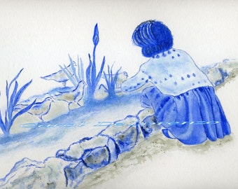 Watercolor Painting Blue Art, Blue Painting, Bird Art, Bird Painting, Girl Art Print Titled Feed the Birds in Blue