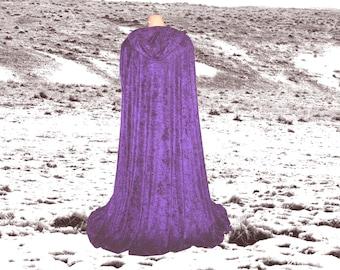 Hooded Cloak - Cape - Purple Velvet - Renaissance - Halloween Costume - Medieval- Harry Potter - Wedding - Fantasy- CosPlay- Druid-Elven