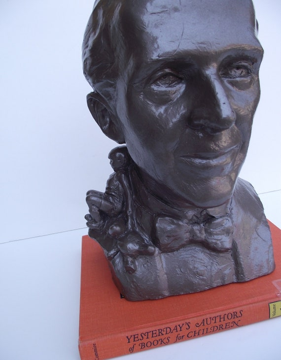 Vintage Plaster Bust of A. A. Milne - Author of Winnie the Pooh- Life Size - Reserved for Deb