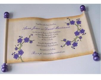Flower blossoms wedding invitation, lavender flowers, spring wedding invitations, cherry blossoms invitations, set of 25