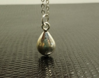 Simple 925 Stamped Sterling Silver Tear Drop Charm Necklace