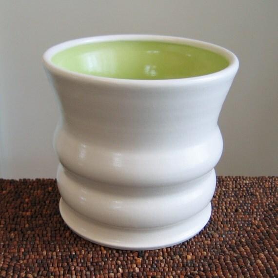 Lime Green Utensil Crock - Ceramic Utensil Holder - Stoneware Pottery