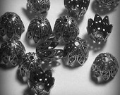 6 Sterling SIlver Plated Domed Pear Shaped Bead Caps (bcs10vjsw299)