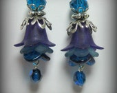 Blue & Purple Trumpet Flowers, Glass Flowers and Silver Earrings (es15)